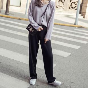 休閒運動褲女長褲直筒2020秋季學生韓版寬鬆顯瘦chic加絨闊腿褲子