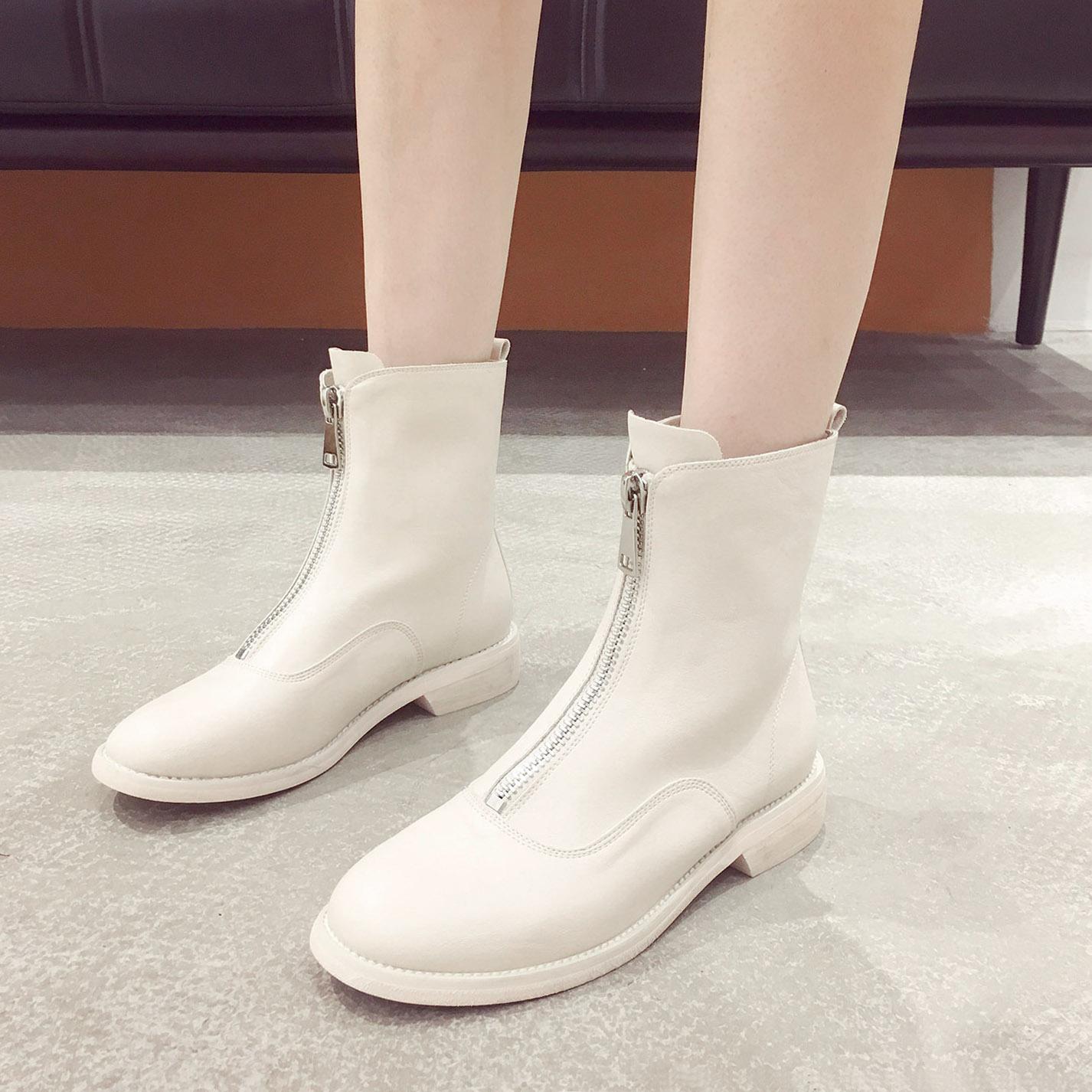特价短靴女2019新款秋款马丁靴百搭时尚粗跟短筒小香风中跟时装靴