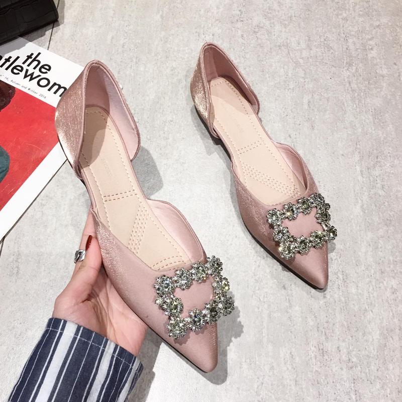 20春季新款韩版水钻扣浅口尖头美鞋中空软底女鞋洋气平底鞋女单鞋