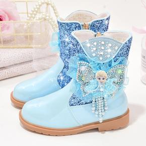 女童靴子短靴马丁靴秋冬季2020新款爱莎公主靴加绒保暖儿童雪地靴