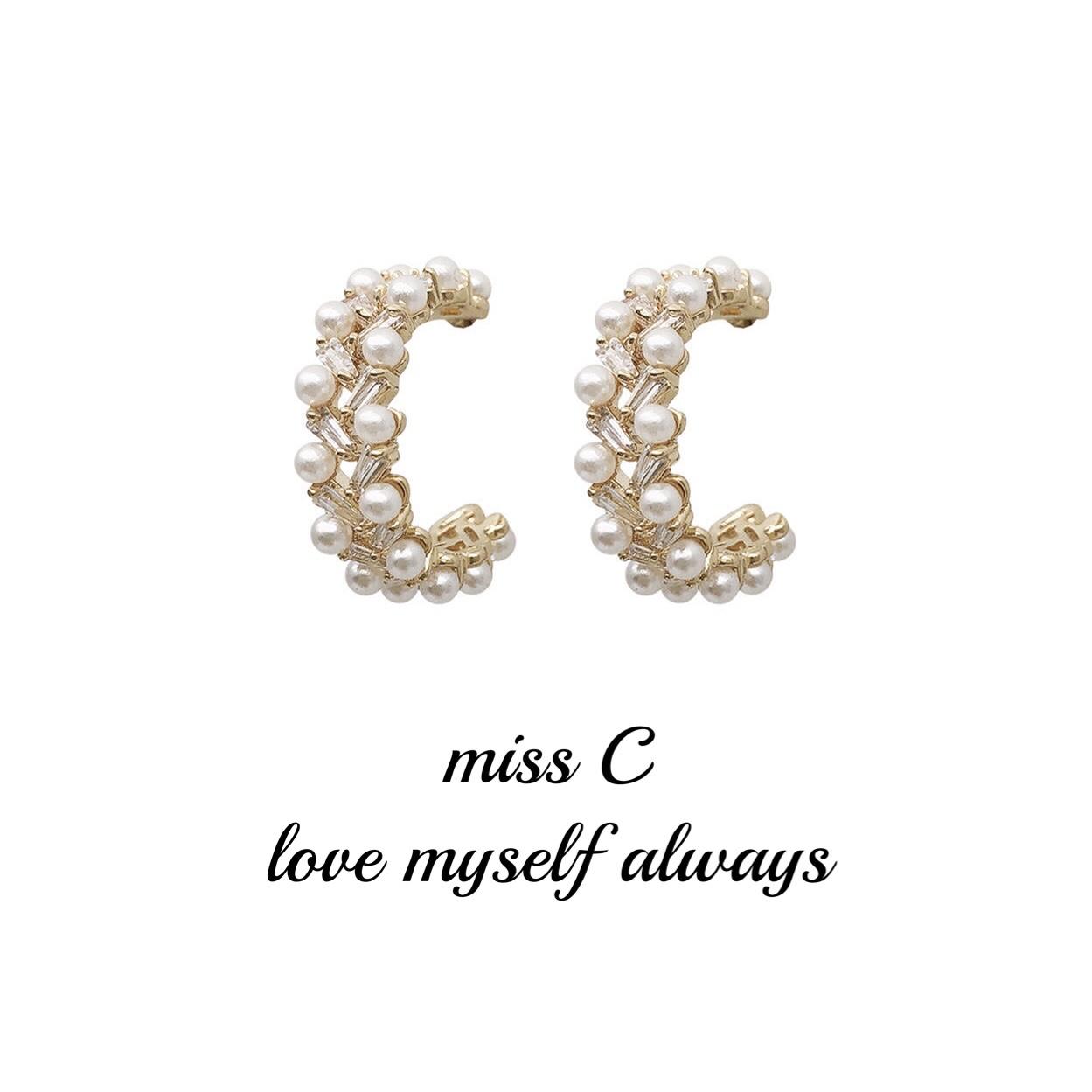 Earrings 2020 new fashion Korean versatile summer round S925 silver needle cross pearl zircon temperament Earrings