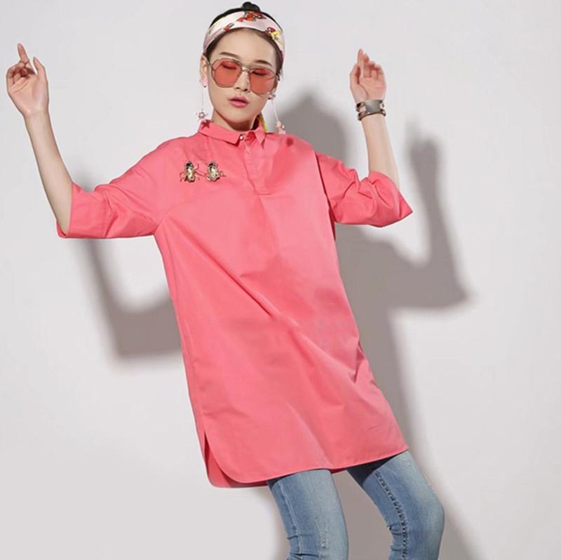 职业阿玛施特2018新款女装夏装正品国内代购chic中袖中长款衬衫衣