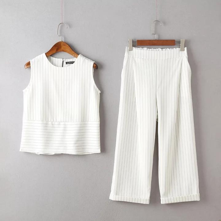 Европа и 2016 лета новый стиль отдыха подходит, рукавов t рубашка Топ вертикальные полосы девять широкий ноги брюки 2 piece набор женщин