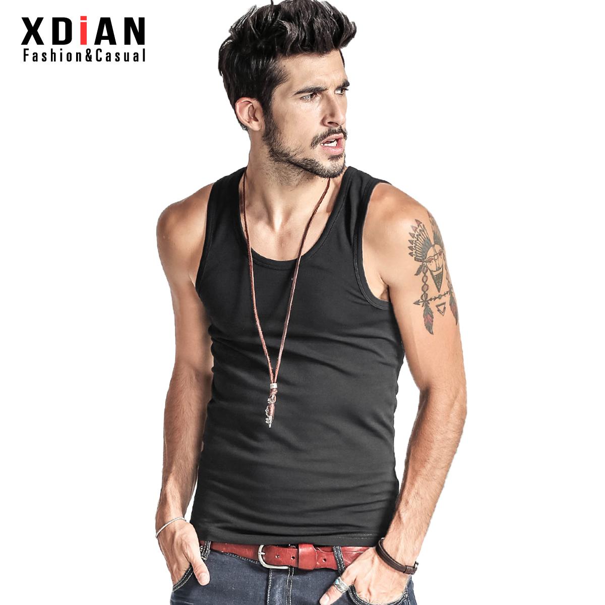Add mens solid color vest mens summer tight bottoming fitness sports sweat vest mens slim elastic cotton tide