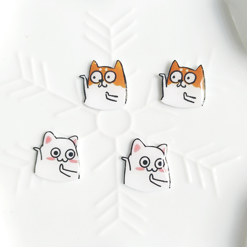 Original handmade earring expression pack Earrings funny cute Japanese funny cartoon net red personality cat and Dog Animals