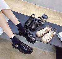 查看真皮厚底罗马凉鞋女夏2021新款韩国复古学生仙女风ins潮百搭网红价格