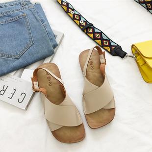 简约百搭潮露趾交叉带显瘦学生柔软舒适 韩版 女夏平底2021新款 凉鞋