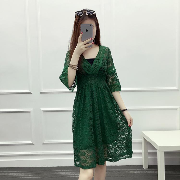Ladies temperament fattening oversize womens hollow out lace waist length dress Korean trumpet sleeve summer dress