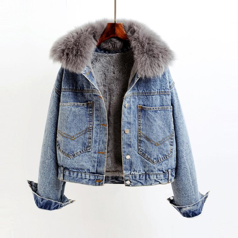 牛仔棉服女短款2019新款冬季韩版兔毛领加绒加厚宽松棉衣学生外套