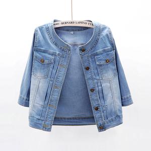 2020春夏新款韩版百搭弹力中袖牛仔外套女短款薄款七分袖小披肩潮