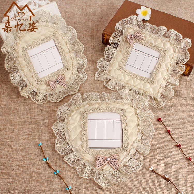 欧式蕾丝刺绣开关贴 绗缝布艺开关套防尘罩装饰墙贴 插座保护套