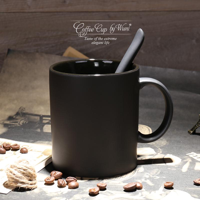 欧式高档陶瓷黑色哑光大容量马克杯子创意简约磨砂咖啡杯带勺水杯