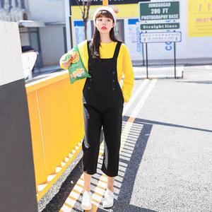 實拍9906#小白 2020春韓版學院風黑色紐扣牛仔吊帶背帶褲正反可穿