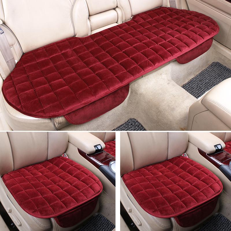 汽車坐墊 單片毛絨無靠背三件套防滑免綁保暖車椅套 座墊