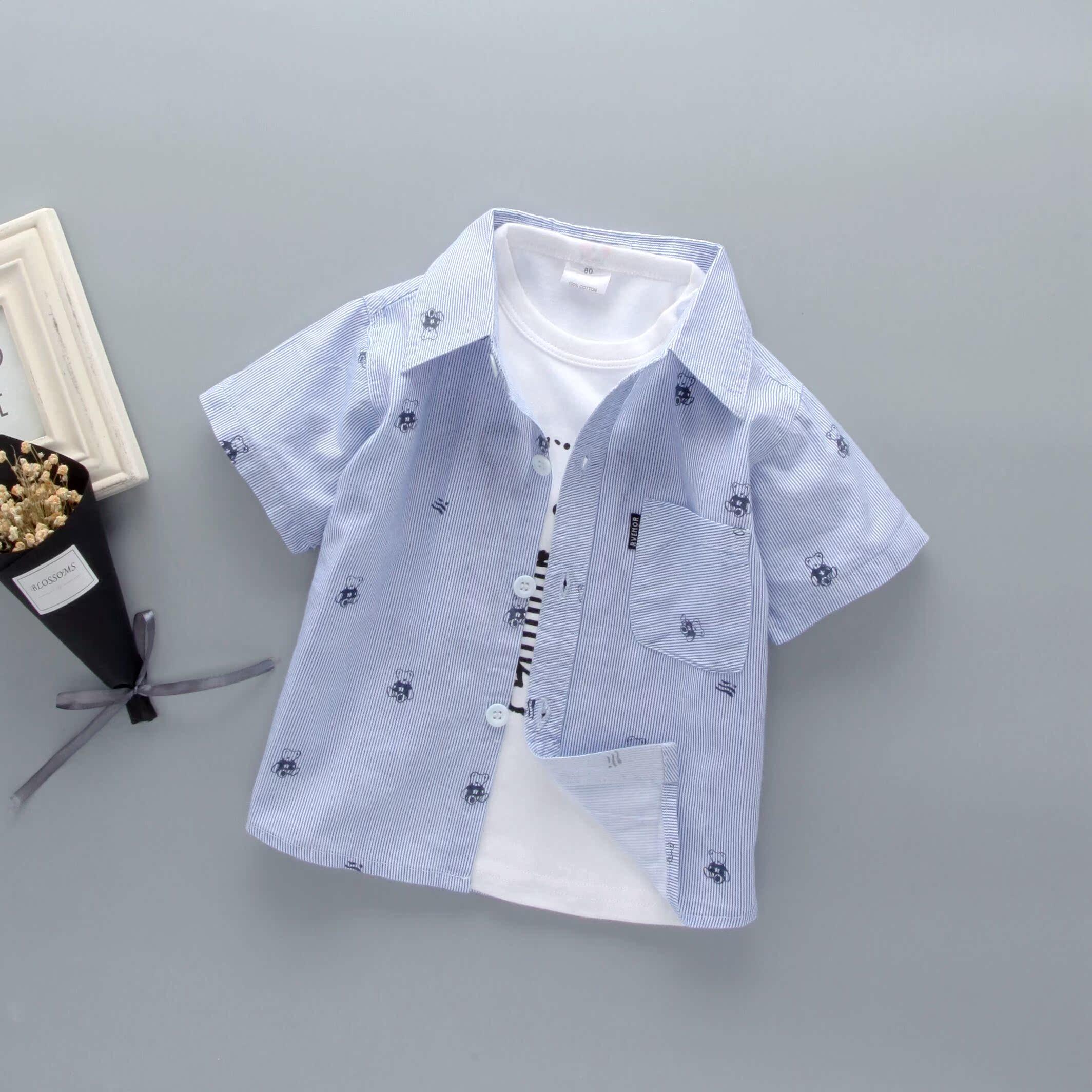 男宝宝短袖衬衫夏装男童薄款小童寸衫0-1-3岁2婴儿童女半袖衬衣潮