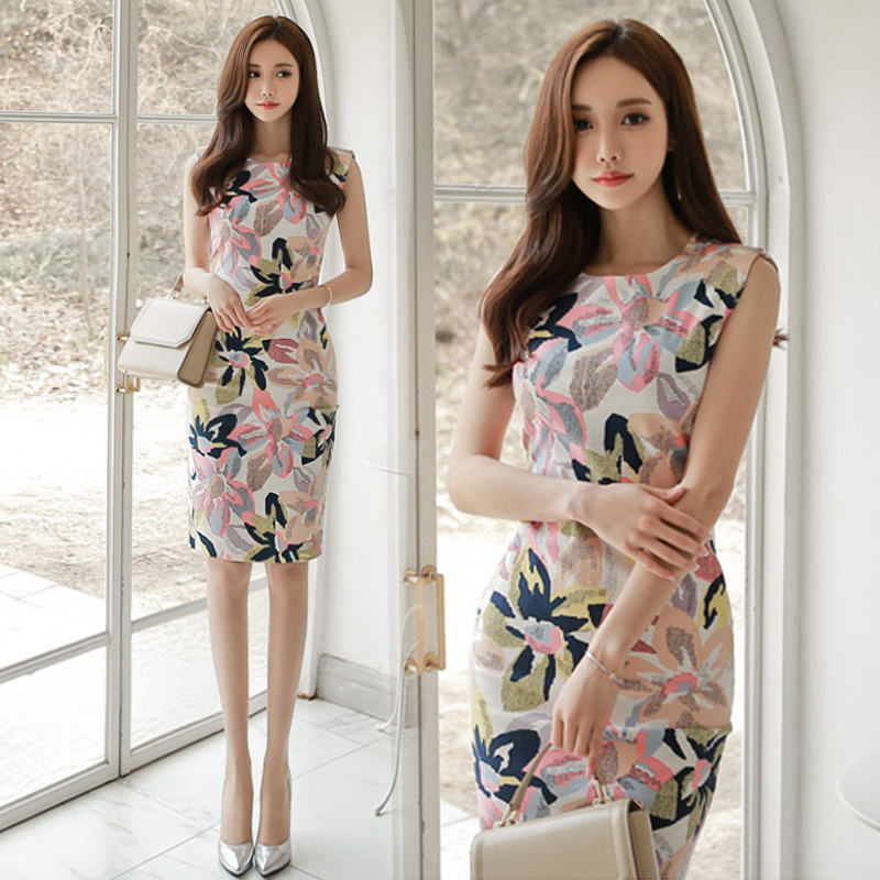 知性优雅通勤气质女人味2020夏季新款女装印花无袖开叉包臀连衣裙