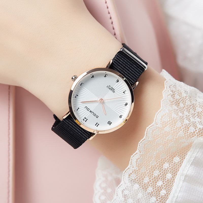 Ins college Style Watch female art middle school student Korean simple canvas belt trend ulzzang small fresh and versatile
