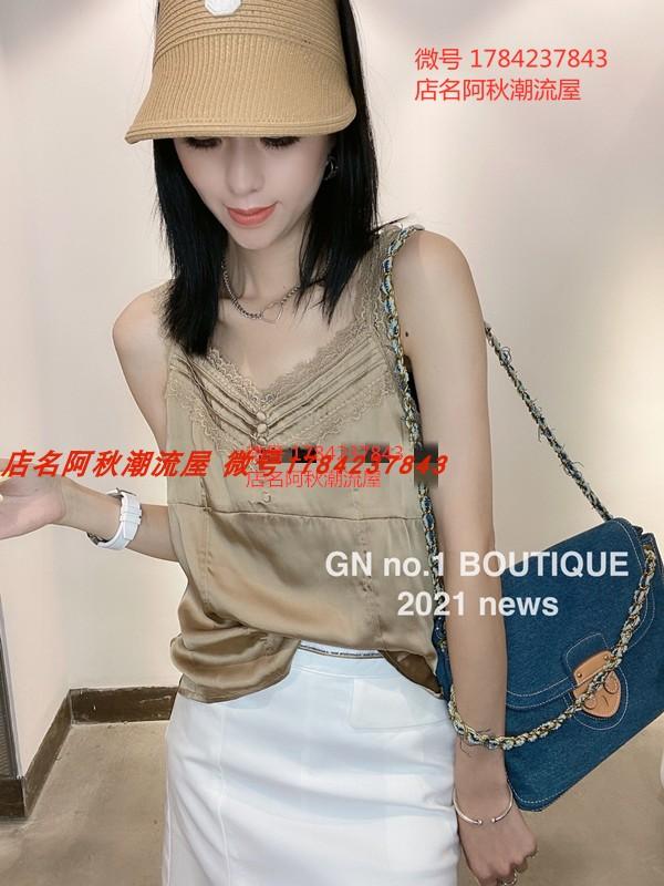 T恤GN丁螺女装2021夏新款韩版时尚显瘦气质蕾丝拼接无袖背心上衣