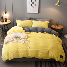 Thickened winter coral Plush 4-piece set warm double-sided Plush magic flannel Quilt Set crystal Plush bedspread