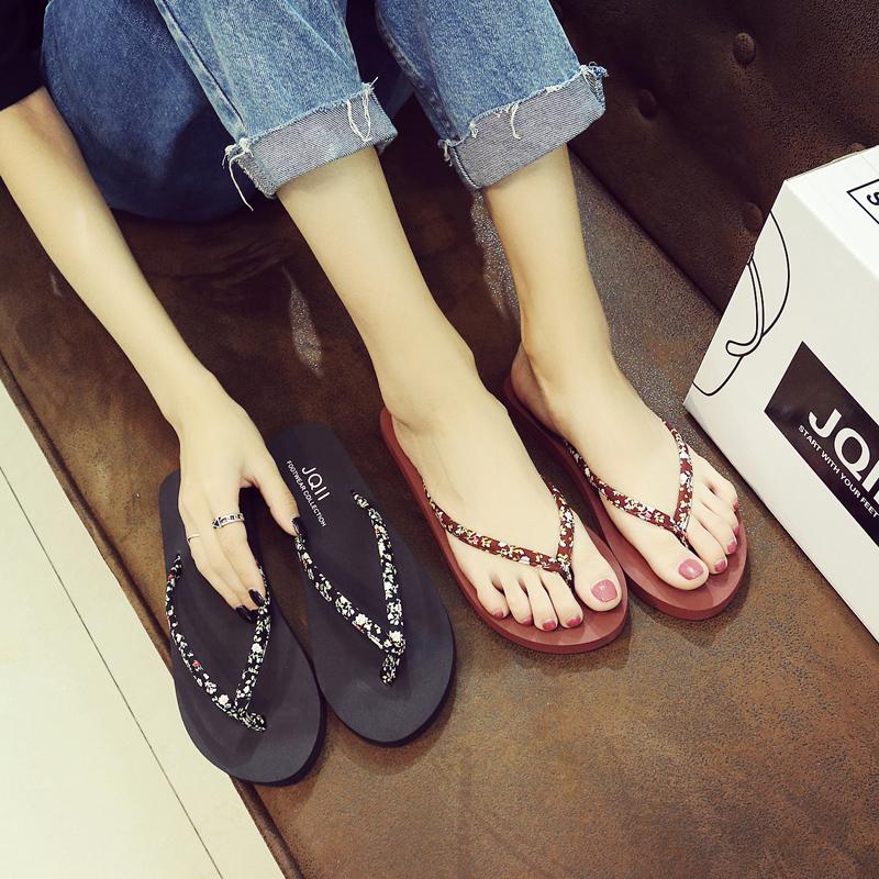 人字拖女夏季時尚韓版防滑簡約夾腳拖厚底平跟外穿海邊沙灘涼拖鞋