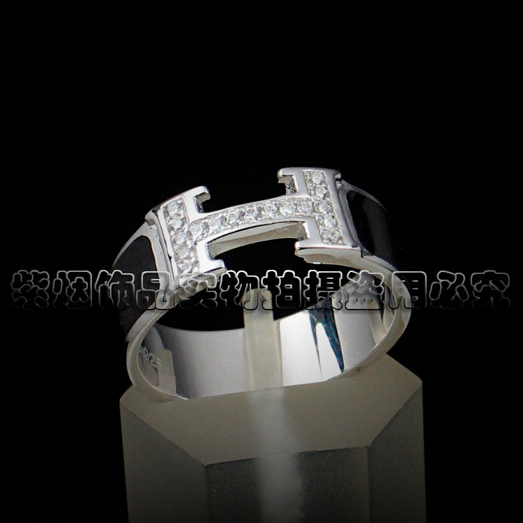 Color Silver Ring Silver RING 925 pure silver female H-shaped enamel ring micro Inlay Ring women silver jewelry for girlfriend