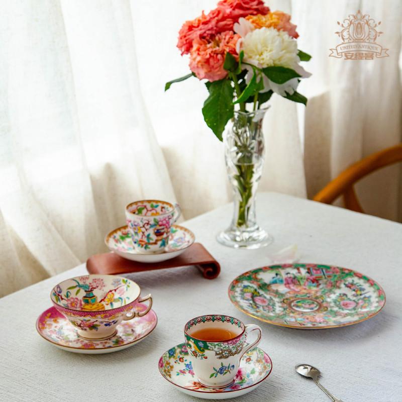 咖啡杯ins田园风Minton珐琅手绘高颜值欧式挂耳奢华陶瓷中古摆件