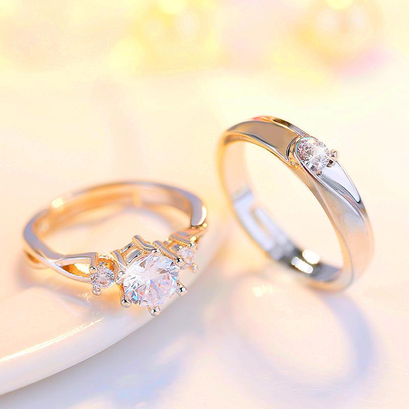 结婚交换对戒假钻戒婚礼仪式仿真婚戒情侣戒指一对女男抖音同款
