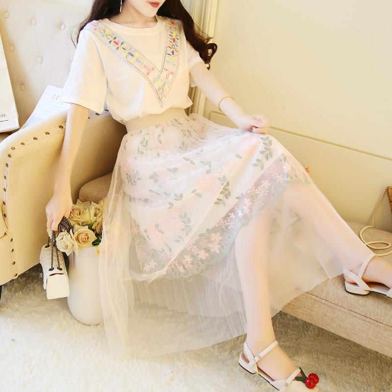 长裙女夏季慵懒风chic学生少女小清新复古收腰显瘦森系及脚踝裙子