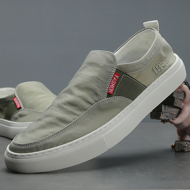 New fashion one legged canvas shoes mens big size fashion versatile slip on casual shoes Korean low top board shoes