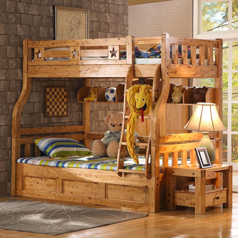 纯实木带梯柜柏木家具亲子12儿童床(用100元券)