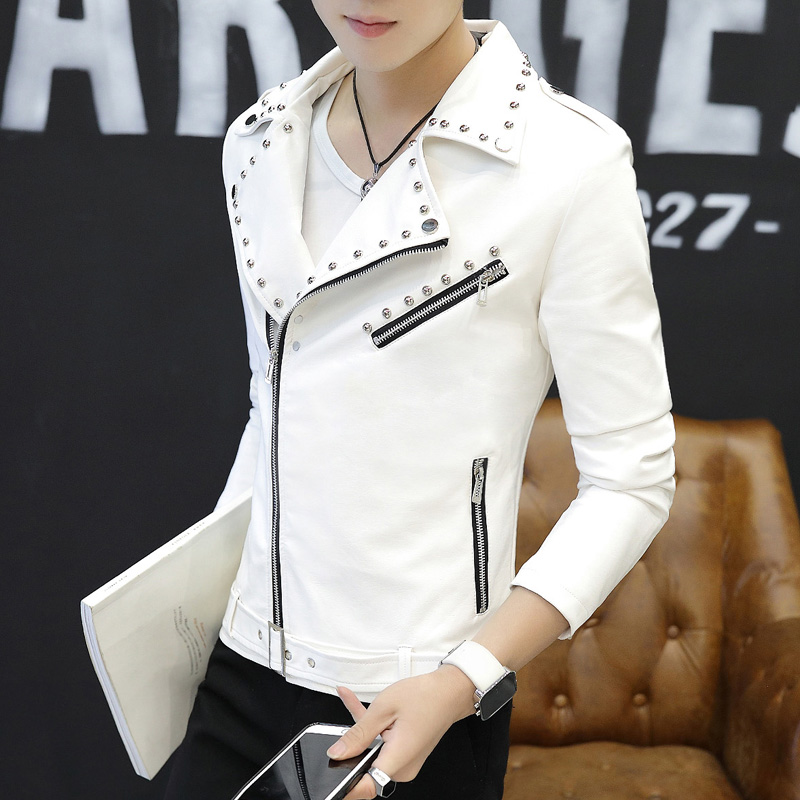Locomotive Leather Mens 2019 new slim Korean spring and autumn fashion youth student rivet leather jacket