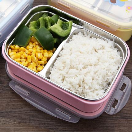 304不锈钢保温饭盒分格小学生长方形便当盒微波炉儿童可爱餐盒1层