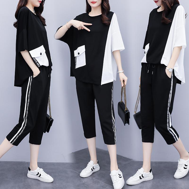 大码女装气质两件套夏季2020年新款洋气胖mm显瘦遮肚减龄时髦套装