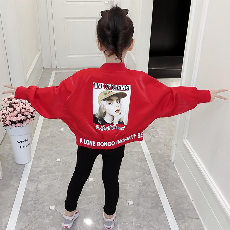 春装女童外套2019新款韩版时尚短外套儿童洋气上衣春秋大童棒球服