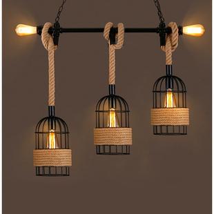 复古工业风铁艺吊灯酒吧餐厅咖啡厅餐桌吧台灯创意个性水管麻绳灯