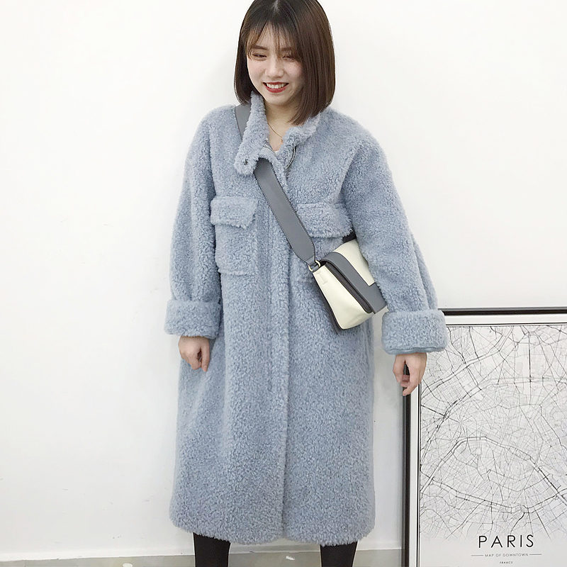 Imported Lamb Fur straw wool one-piece coat for women winter new cashmere hood mid long detachable coat