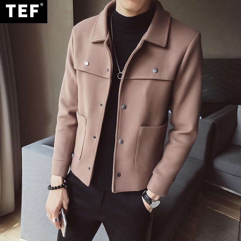 韩版修身潮休闲冬装大衣加大码青年呢料风衣男士帅气秋季夹克外套