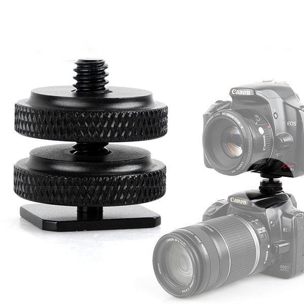 相机手机支架三脚架夹子通用1/4双层螺丝螺孔转热靴插座 双螺丝