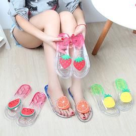 夏季水果水晶个性可爱塑料凉拖鞋女室内居家透明清凉防滑平底一字