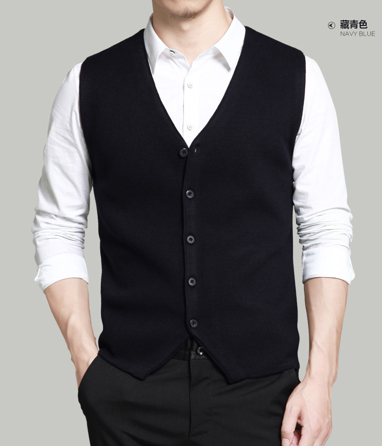 Spring and autumn mens knitting vest sleeveless Waistcoat Vest V-neck cardigan coat youth slim waistband