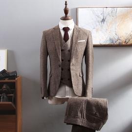 西服套装男商务正装三件套修身职业韩版英伦风小西装新郎结婚礼服图片