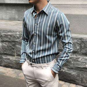 坚条纹衬衫男韩版修身潮流休闲帅气长袖免熨烫衬衣男商务正装抗皱