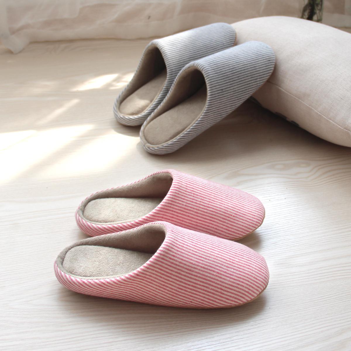 可机洗春秋日式居家室内软底地板男女无声棉拖鞋保暖夏季静音防滑