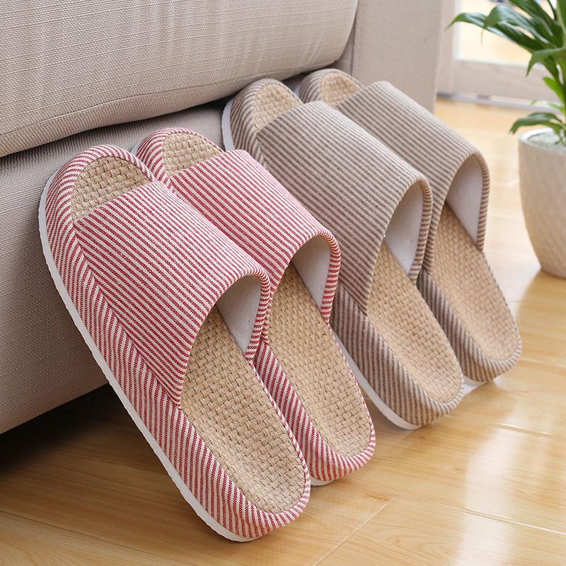 日式春夏情侣亚麻拖鞋家居木地板棉麻女防滑厚底室内居家凉拖鞋