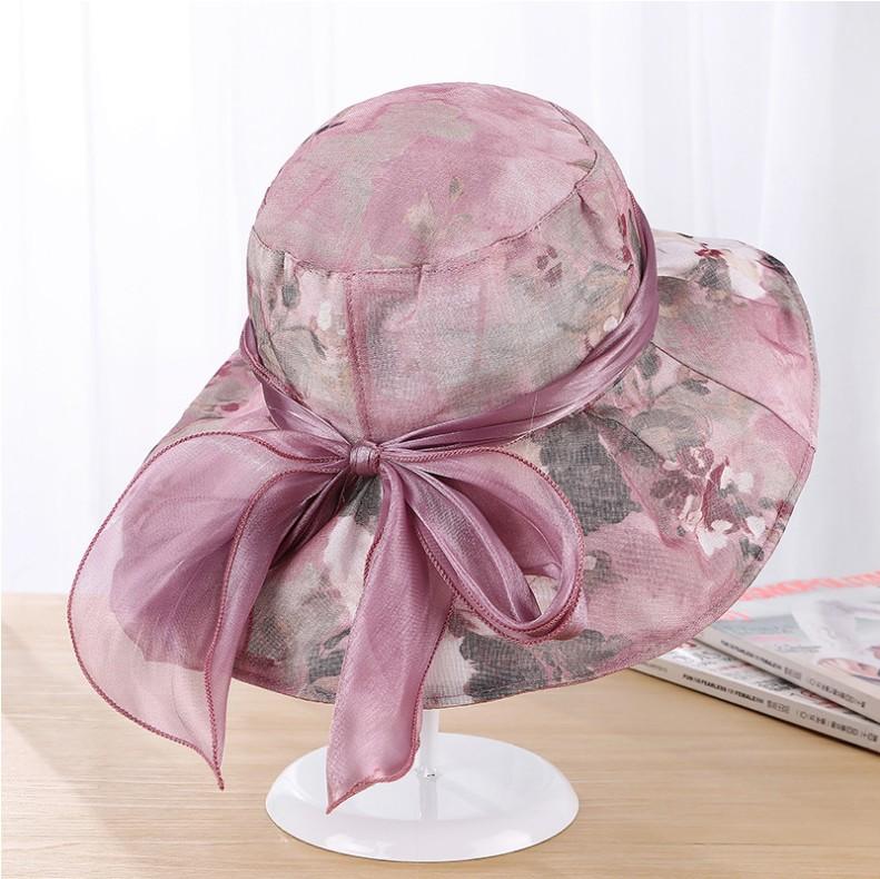 遮阳帽女夏季沙滩可折叠欧根纱防晒太阳帽时尚优雅蕾丝蝴蝶结帽子