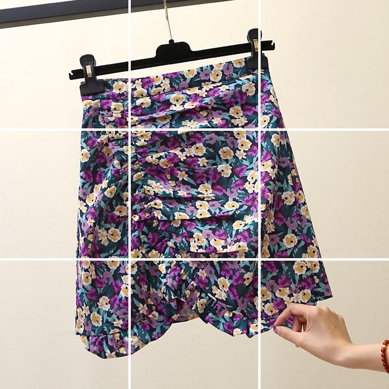 半身裙女2020春夏新款韩版不规则高腰碎花短裙百搭显瘦a字包臀裙