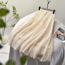 半身裙女夏2020新款清新小白裙中长款高腰百搭白色仙女网纱裙子春图片
