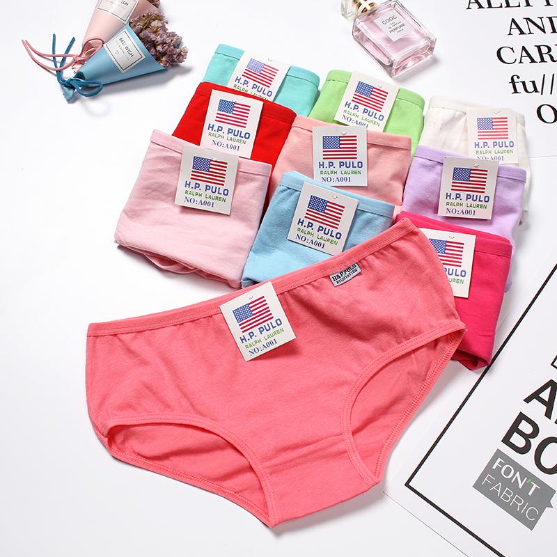 10条装性感纯棉糖果色透气蕾丝边学生少女三角裤头女士内裤