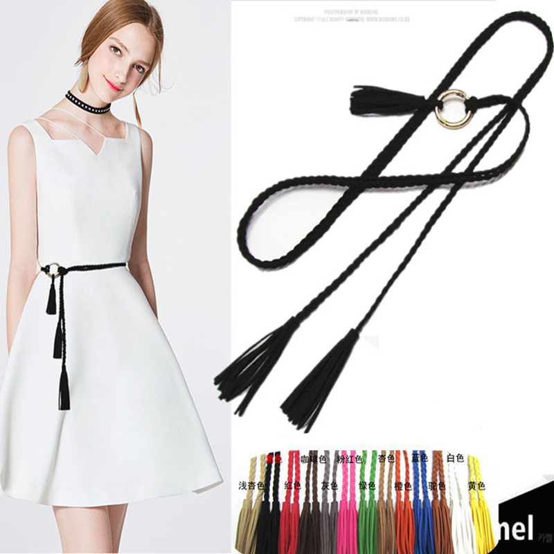Woven belt womens summer Korean decorative slim waist dress fashion simple versatile tassel womens waist rope new style