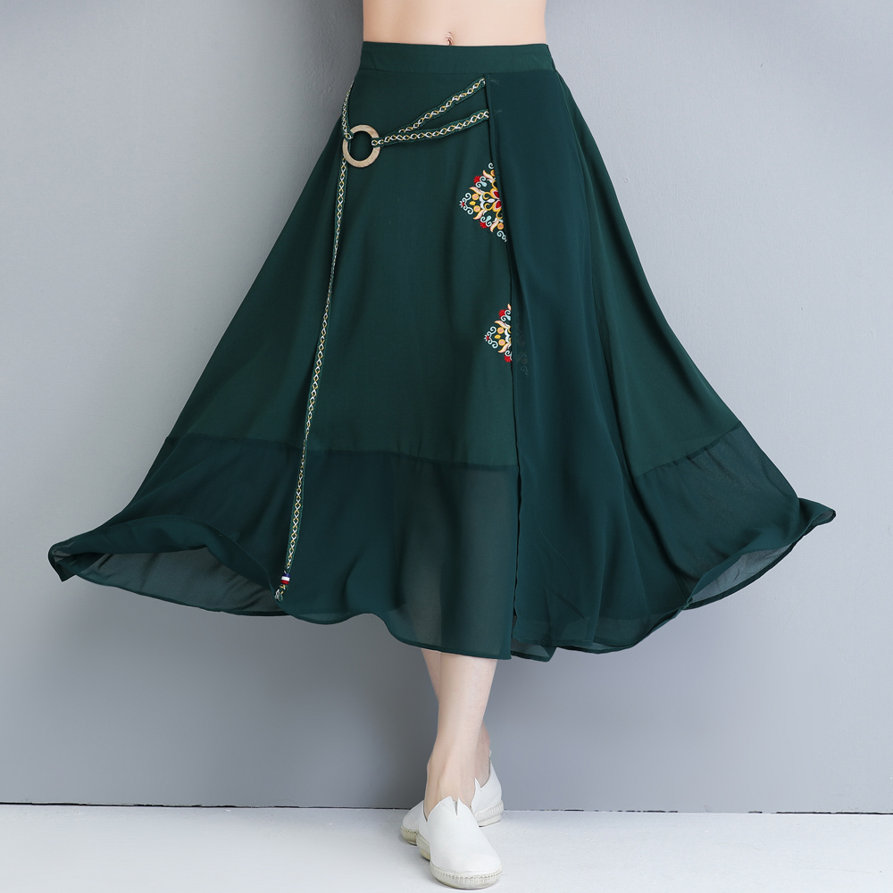 包邮 中国风时尚复古女装 夏季雪纺拼接刺绣长裙 个性特色 半身裙